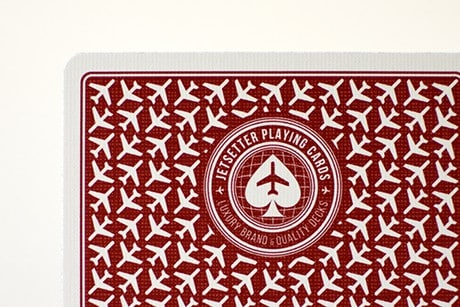 Jetsetter Red custom playing cards upclose photograph.