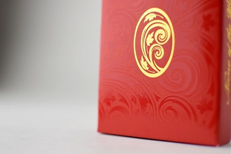 Name of the Wind Selas custom playing cards box close up of texture.