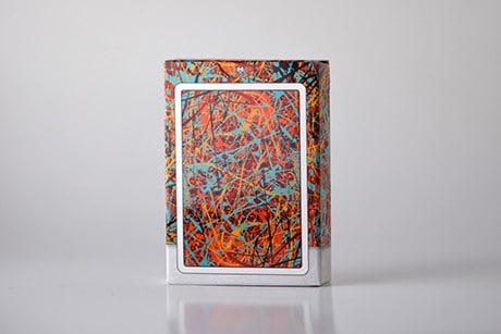 Pollock Artistry custom playing cards backside view of deck sleeve.