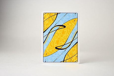 Pollock Cardistry custom playing cards single card art design yellow and blue art.