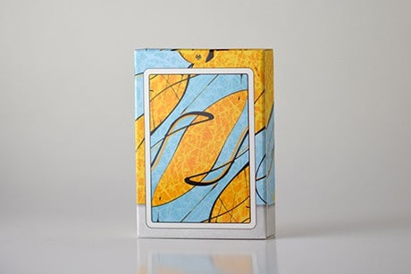 Pollock Cardistry custom playing cards backside view of the artistic yellow and blue deck sleeve.