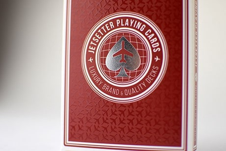 Jetsetter Red custom playing cards box.
