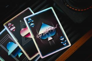 vibrantly colored 80s style custom playing cards